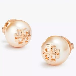 """Tory Burch Rose Gold """"Evie"""" Pearl Stud Earring"""